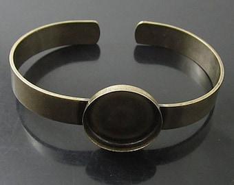 2 Blank bracelet Brass Antique Bronze- 20mm bezel cup YB19380