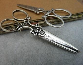 20 Antique Bronze Silver 25x60mm Scissor Charms Pendants AC3145