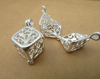 4 Silver 8x17x20mm Cube Tree Wishing Box Charms Pendants AC2588