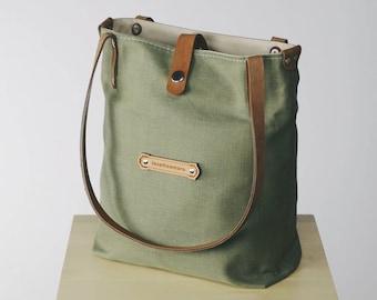82aae7378fd11 KITRA- Green bag for women Green purse Leather linen handbag Medium Italian  fashion tote Custom tote Olive linen purse Linen shoulder bag