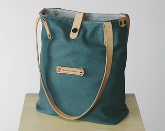 Linen Canvas Fabric & Leather - Shoulder Tote Bags for Women - Customizable!