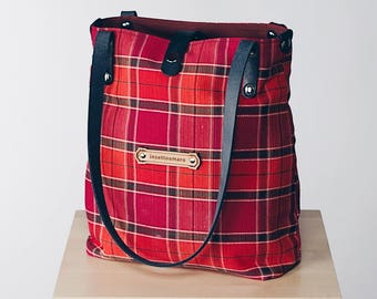 Tartan Canvas Fabric & Leather - Shoulder Tote Bags for Women - Customizable!