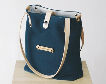 Wool Canvas Fabric & Leather - Shoulder Tote Bags for Women - Customizable!