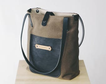 Wool Canvas Fabric & Leather - Shoulder Tote Bags for Women