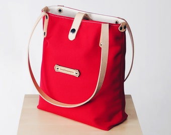 Canvas Fabric & Italian Leather - Shoulder Tote Bags for Women - Customizable!