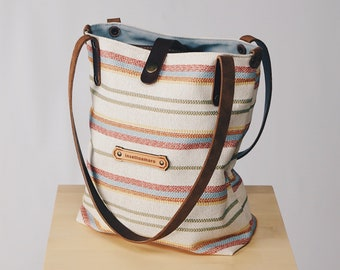 Striped Canvas Fabric & Leather - Shoulder Tote Bags for Women - Customizable!