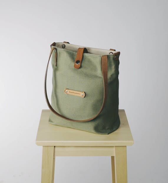 KITRA Green bag for women Green purse Leather linen handbag ff90f48cb7fe7