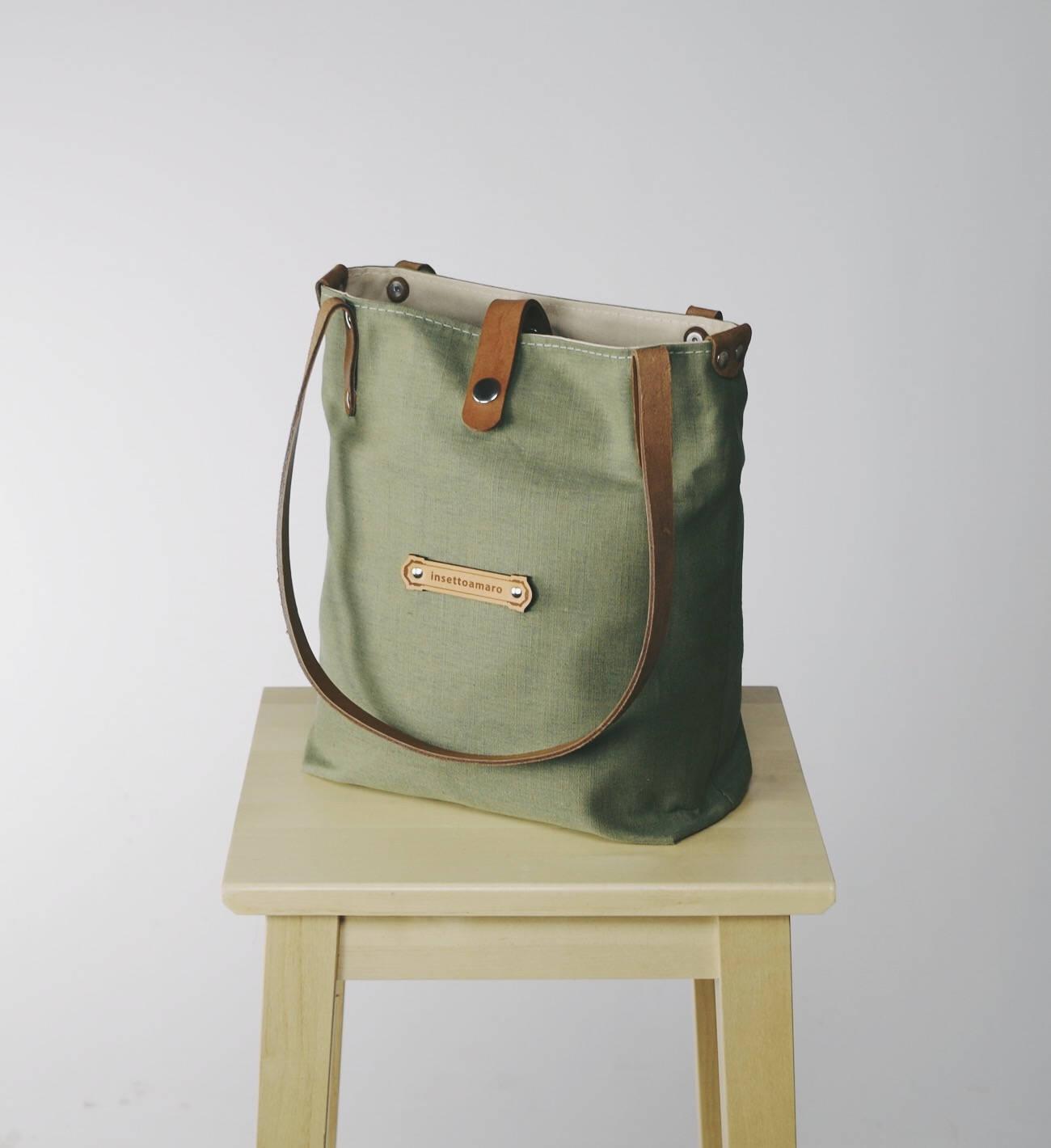 993253da7b85 KITRA Green bag for women Green purse Leather linen handbag