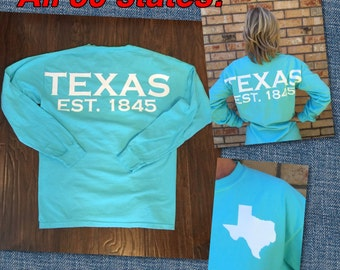 Texas spirit long sleeve t-shirt lone star state or ANY STATE shirt