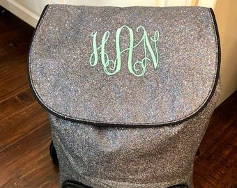 Monogram backpack glitter, personalized backpack, sparkle backpack, cheer backpack, dance bag, gold silver red pink black