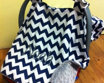 Baby Boy Custom Carseat Canopy With Monogram Personalized Carrier Cover Chevron Navy Gray