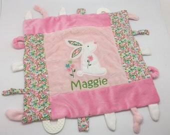 Baby girl gift etsy personalized baby girl gift sensory toys personalized baby shower gift sensory blanket for girls lovey blanket newborn toy teething toy negle Gallery