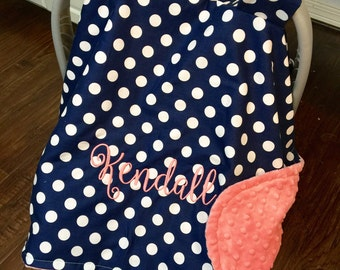 Personalized Baby Carseat Canopy Monogram Car Seat Cover Custom Girl Shower Gift Monogrammed Navy Dot Coral