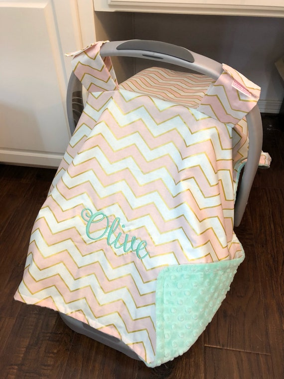 Personalized Baby Carseat Canopy Monogram Car Seat Cover