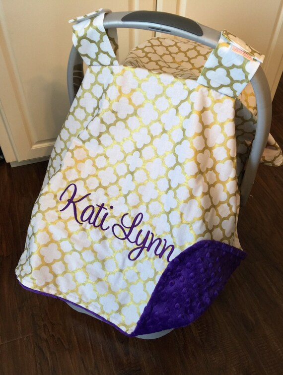 Personalized Baby Carseat Canopy Monogram Car Seat Cover Etsy