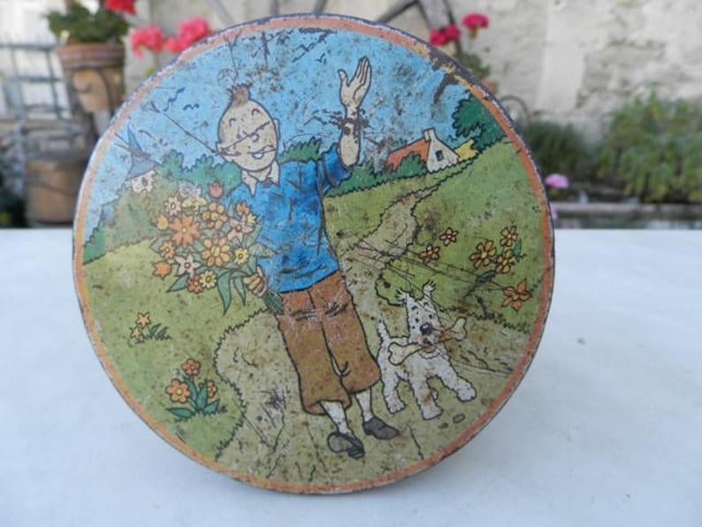 French Retro rare 1960's toffee tin depicting Tin Tin, Snowy, Captain  Haddock, Thompson and Thompson etc