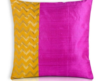 Pillow Cover Orange Dupioni Silk