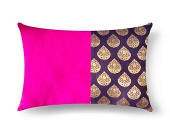 4th Of July Decor, Navy and Pink Silk Pillow Cover, Lumbar Pillow, Housewarming Gift, Handmade Silk Pillow, Gift For Her, Living Room Decor