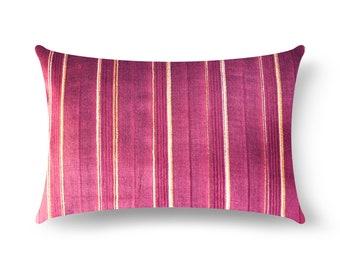 Plum Striped Tussar Silk Pillow Cover, Plum Silk Lumbar Pillow, House Warming Gift, Handmade Silk Throw Pillow, Decorative Silk Cushion