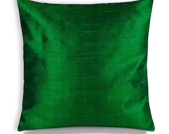 Emerald Green Silk Pillow Cover-Emerald Green Silk Cushion Cover-Decorative Throw Pillow Cover-Buy Custom Made