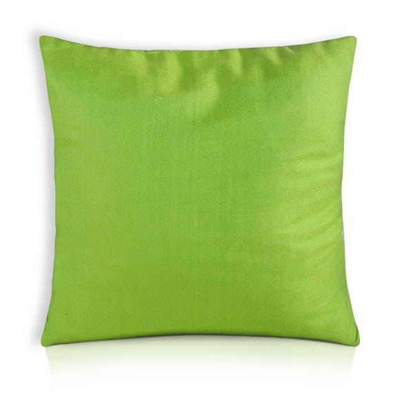 Apple Green Raw Silk Pillow Cover Dupioni Silk Cushion Etsy Enchanting Raw Silk Pillow Covers
