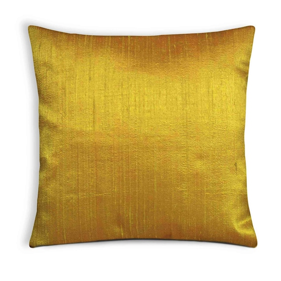 Solid Color Mustard Raw Silk Pillow Cover Silk Throw Pillow Etsy Simple Raw Silk Pillow Covers