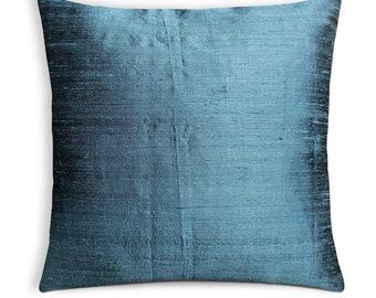 Blue Grey Silk Pillow Cover-Blue Grey Dupioni Silk Cushion Cover-Decorative Throw Pillow