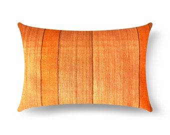 Rust Striped Tussar Silk Pillow Cover, Burnt Orange Silk Lumbar Pillow, House Warming Gift, Handmade Silk Throw Pillow, Silk Cushion Cover