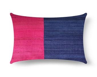 4th Of July Decor, Navy and Magenta Tussar Silk Pillow Cover, Lumbar Pillow, Housewarming Gift, Handmade Silk Pillow, Living Room Decor