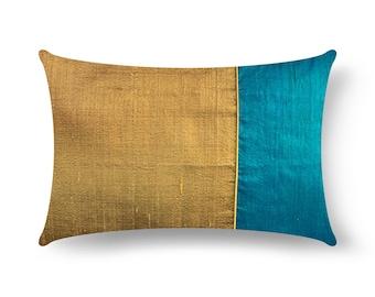 Hazel and Peacock Dupioni Silk Pillow Cover, Lumbar Pillow, Housewarming Gift, Handmade Silk Pillow, Gift For Her, Living Room Decoration