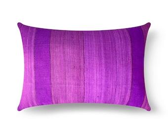 Purple Striped Tussar Silk Pillow Cover, Purple Silk Lumbar Pillow, House Warming Gift, Handmade Silk Throw Pillow, Decorative Silk Cushion
