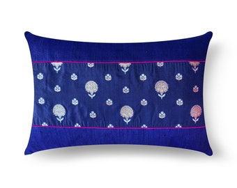 4th Of July Decor, Navy and Gold Silk Pillow Cover, Lumbar Pillow, Housewarming Gift, Handmade Silk Pillow, Gift For Her, Living Room Decor
