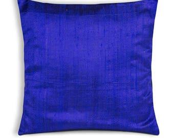 Solid Color Royal Blue Raw Silk Pillow Cover - Silk Throw Pillow - Entryway Decorative Cushion Cover - Office Decor - Handmade Silk Pillow