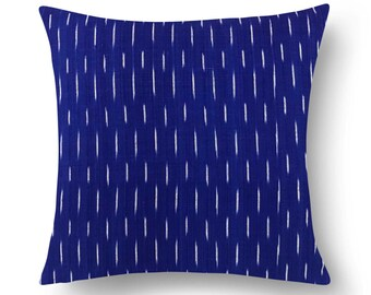 Blue and White Ikat Cotton Pillow Cover - Outdoor Pillow Cover - Euro Sham - Beach Party Pillow - Cotton Cushion Cover - House Warming Gift