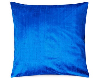 Silk Cushion Cover - Turquoise Solid Silk Decorative Throw Pillow Cover - Handmade Raw Silk  Indian Throw Pillow - Euro Shams Pillows