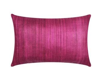 Plum Tussar Silk Pillow Cover - Magenta Plum Silk Lumbar Pillow - Warming Gift - Handmade Silk Throw Pillow - Decorative Silk Cushion Cover
