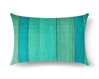 Sea Green Striped Tussar Silk Pillow Cover, Mint Silk Lumbar Pillow, House Warming Gift, Handmade Silk Throw Pillow, Decorative Silk Cushion