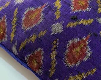 Navy Ikat Weaving Silk Pillow - Handmade Pure Silk Pillow - Decorative Pillow Cover - Living Room Decor - Navy and Mustard Pure Silk Pillow