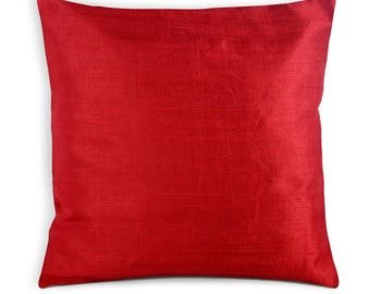 Red Raw Silk Pillow Cover-Solid Red Dupioni Silk Cushion Cover-Decorative Throw Pillow - Entryway Decor - House Warming Gift - Silk Cushions