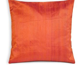 Orange Raw Silk Pillow Cover-Orange Dupioni Silk Cushion Cover-Decorative Throw Pillow