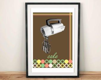 Kitchen Art - Kitchen Mixer Printed on Canvas - Cake Art - Baking Art - Kitchen Art - Restaurant Decor - Foodie Gift - Restaurant Art
