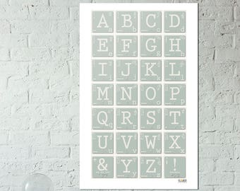Letters Print - Alphabet - Morse Code - American Sign Language - Braille - Wall Letters - Typography - ABC's - Educational Art - Learning