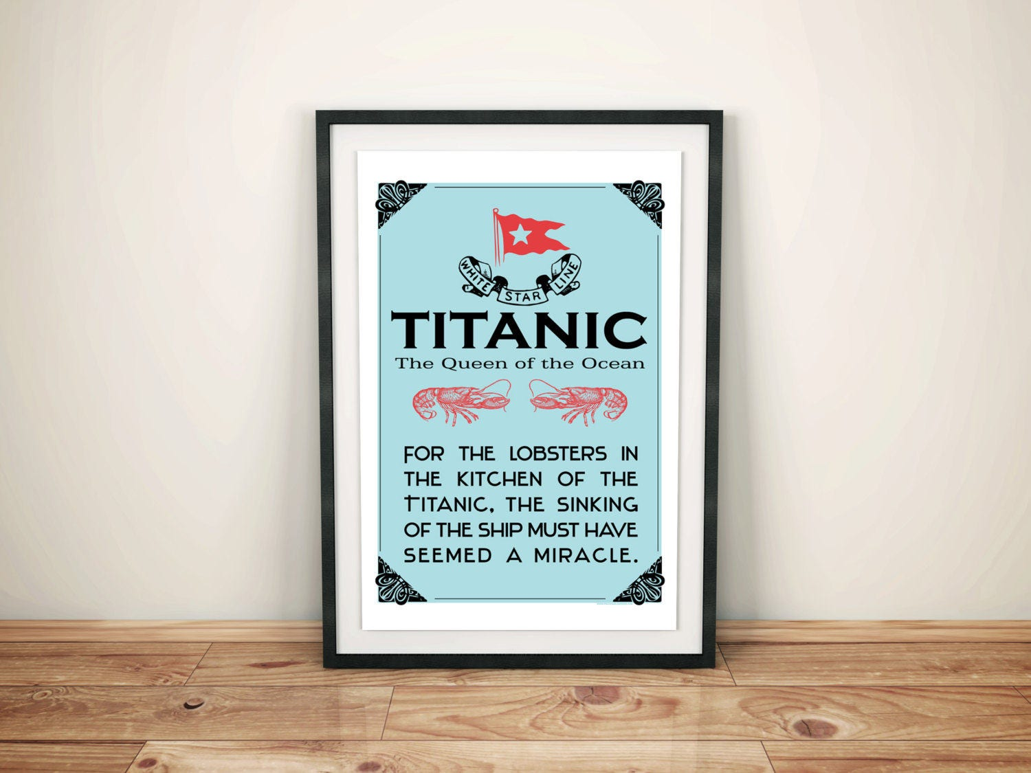 Titanic and Lobster Funny Quote Print on Canvas Kitchen Art | Etsy