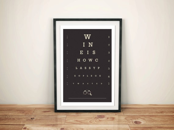 Wine Lover Eye Chart Poster Bar Art Kitchen Art Foodie Etsy