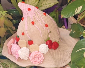 Srawberry decorated Witch hat, Kawaii fashion accessory, Gothic, Cute, Sweet, Lolita, Halloween all year, fruit witch
