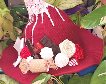 Red Velvet and Chocolate decorated witch hat for kawaii and alternative fashion, gothic, cute, sweet, lolita fashion, halloween all year