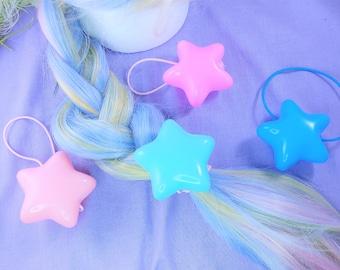 Puffy star hair ties- kawaii fashion accessory for decora, lolita, fairy kei, kidcore, clowncore, pastels, brights, mahou kei, pony holder