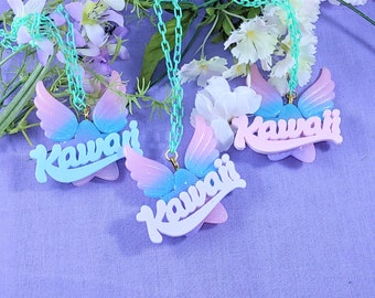 Kawaii star and wing two way necklace and pin Pastel version- for kawaii fashion, decora, fairy kei, spank kei, mahou kei,