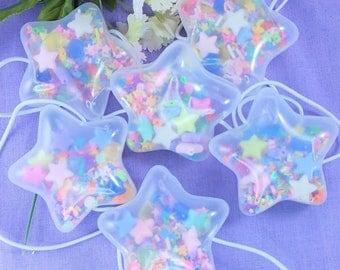 Bubble star shaker hair tie pair- Decora, kawaii fashion, kidcore, 90's, spank kei, dry shaker, Star, elastic, hair accessory,