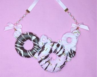 Summer Sweets Donut statement necklace- Kawaii fake food Jewelry, bib necklace, lolita fashion, decora, faiy kei, sweet lolita, Pastel
